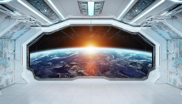 Intérieur futuriste de vaisseau spatial bleu blanc avec vue de la fenêtre sur la planète terre