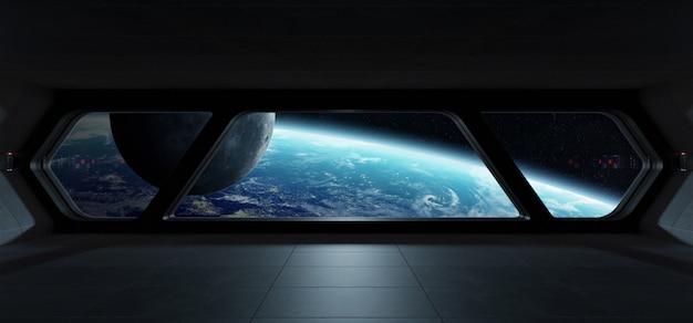 Intérieur futuriste de vaisseau spatial avec vue sur la planète terre