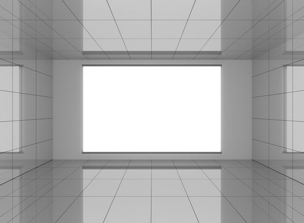Intérieur gris abstrait dans la chambre avec fond blanc vierge