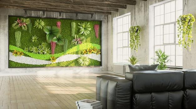 Intérieur grungy du salon avec rendu 3d de style loft mur vert