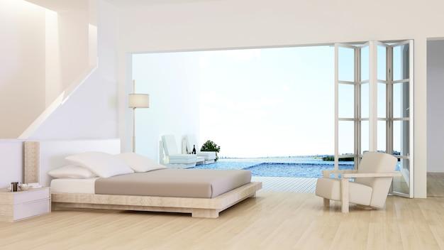 L'intérieur de l'hôtel minimaliste relax espace piscine rendu 3d et vue sur la nature