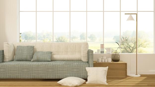 L'intérieur japonais minimaliste relax espace rendu 3d et fond de vue de la nature