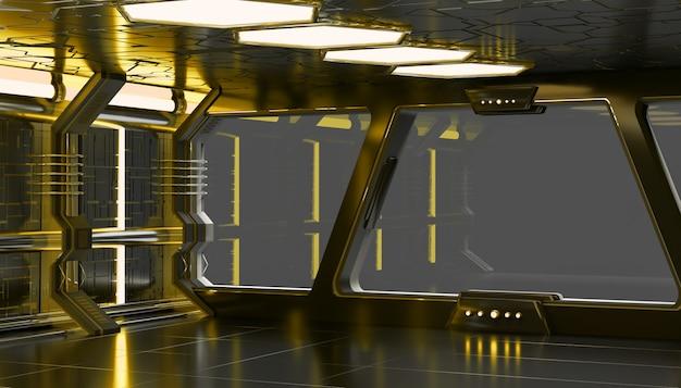 Intérieur jaune de vaisseau spatial