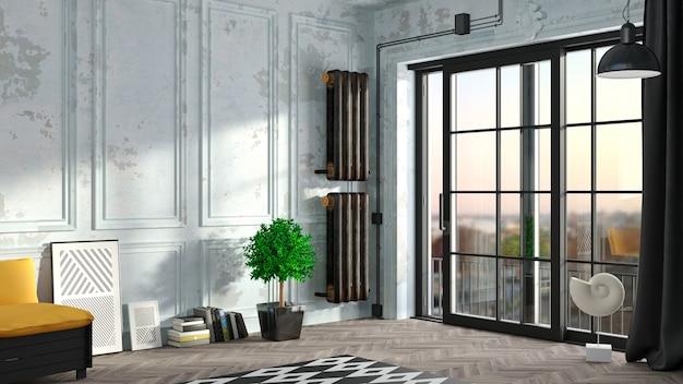 Intérieur loft avec portes coulissantes