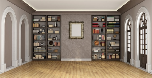 Intérieur de luxe avec bibliothèque