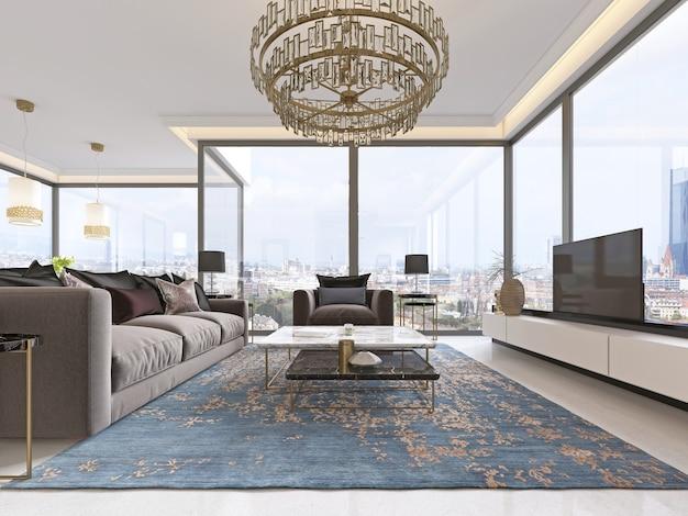 Intérieur luxueux du salon de style contemporain avec meuble tv, canapé, fauteuils, table basse et table à manger avec cuisine. rendu 3d.