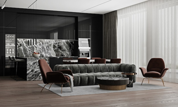 Intérieur de la maison confortable moderne, espace de vie et de salle à manger, table à thé confortable et décor dans le salon noir, rendu 3d