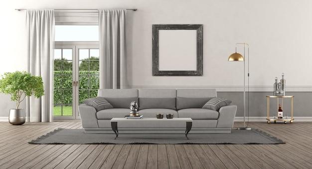 Intérieur de maison élégant avec canapé gris et fenêtres sur fond - rendu 3d