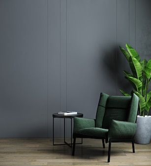 Intérieur de la maison, intérieur de salon sombre moderne de luxe, mur vide noir maquette avec fauteuil vert, rendu 3d