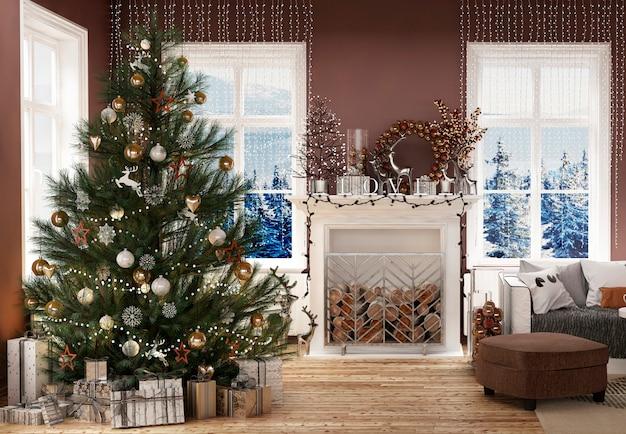 Intérieur de maison moderne avec arbre du nouvel an et décoration de noël