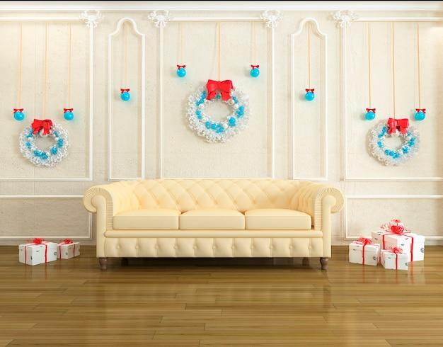 Intérieur de maison moderne avec décoration de noël et arbre du nouvel an