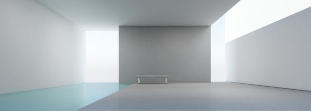 Intérieur de maison moderne avec piscine.