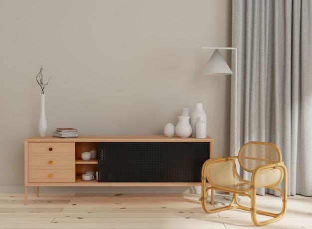 Intérieur de la maison, salon avec mobilier naturel, rendu 3d de style scandinave