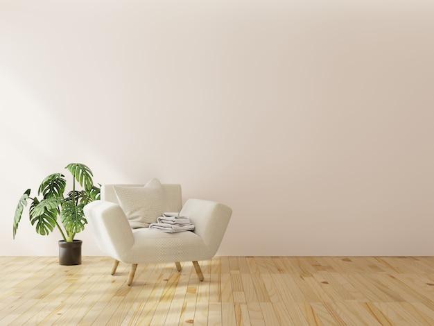 Intérieur maquette avec fauteuil en velours gris