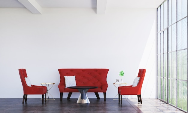 Intérieur minimal du salon et décoration de meubles de canapé rouge et fond de mur vide