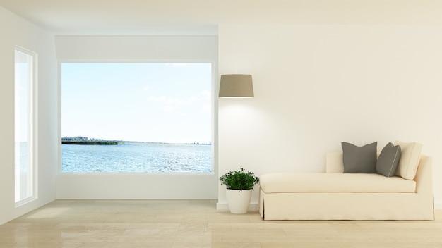 L'intérieur minimal de l'hôtel relaxe l'espace rendu 3d et vue sur la nature
