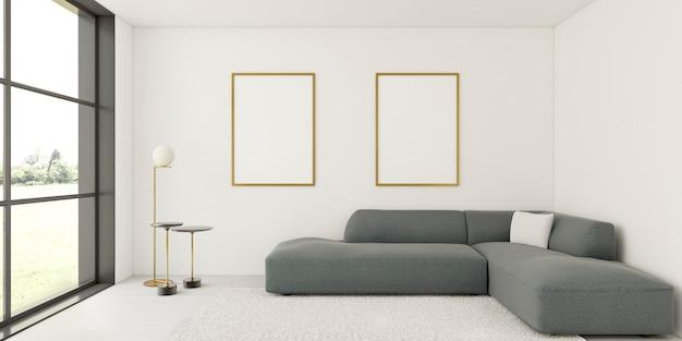 Intérieur minimaliste avec des cadres élégants et un canapé