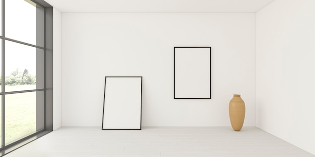 Intérieur minimaliste avec des cadres élégants