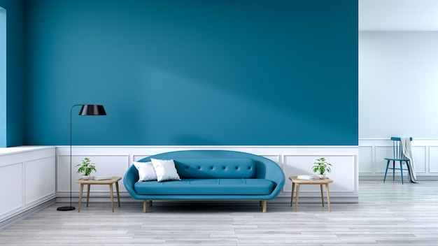 Intérieur minimaliste du salon, canapé bleu avec table en bois sur parquet