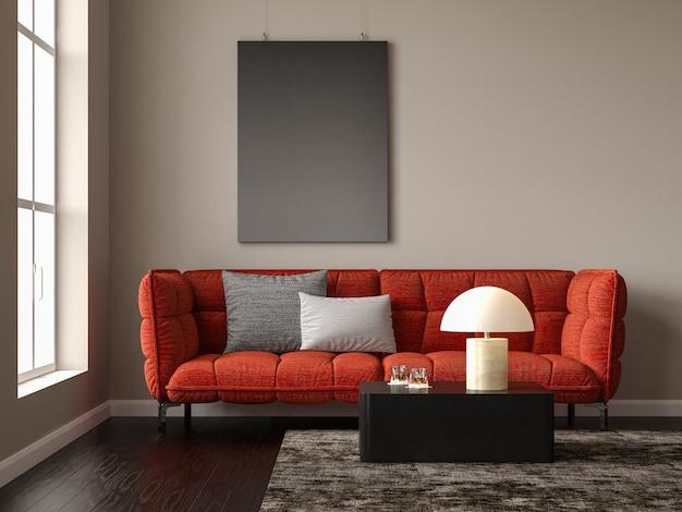Intérieur minimaliste du salon moderne rendu 3d