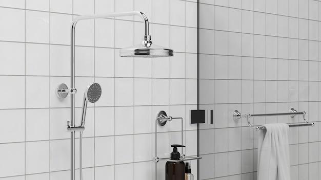 Intérieur minimaliste moderne de cabine de douche de plan de salle de bains dans le rendu 3d de mur de tuiles blanches