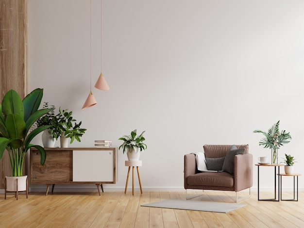 Intérieur minimaliste moderne avec un fauteuil sur fond de mur blanc vide rendu 3d