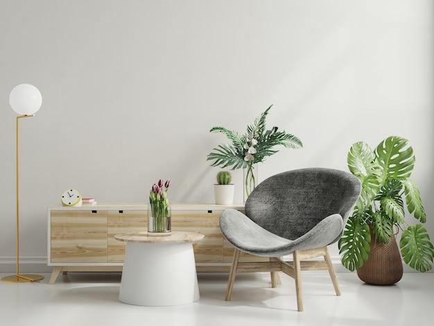 Intérieur minimaliste moderne avec un fauteuil sur fond de mur blanc vide. rendu 3d