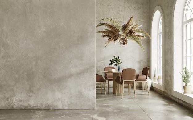Intérieur minimaliste avec murs grungy et fenêtres en arc rendu 3d de la maquette intérieure