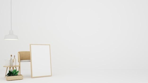 L'intérieur minimaliste salon fond blanc en copropriété
