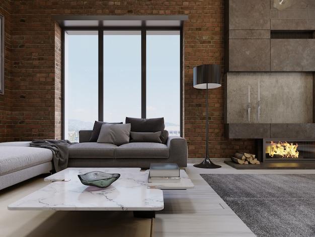 Intérieur moderne d'appartement de salon de conception de loft contemporain. rendu 3d