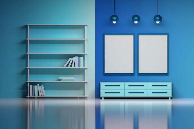 Intérieur moderne en bleu avec des affiches vides vides.