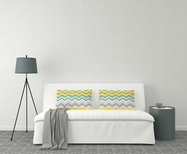 Intérieur moderne avec canapé blanc près du mur gris vide. rendu 3d.