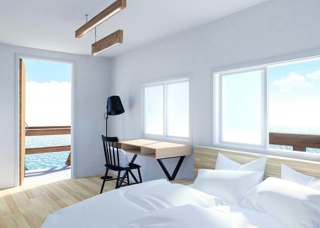 Intérieur moderne de la chambre blanche avec terrasse et vue sur la mer dans un complexe de villas, rendu 3d