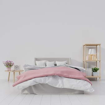 Intérieur moderne de chambre à coucher avec la pièce blanche ont la fleur et la lampe sur l'étagère