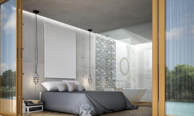 Intérieur moderne de chambre à coucher et salle de bains et décoration et fond de modèle de mur en béton