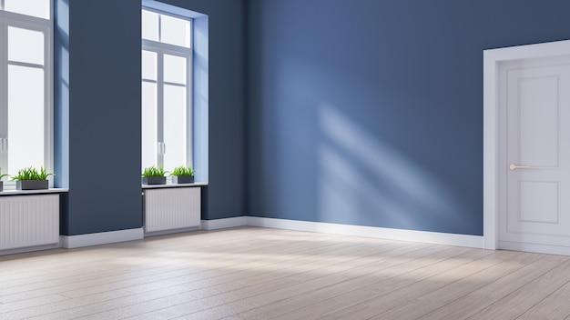 Intérieur moderne chambre vide, style scandinave, parquet et mur bleu, rendu 3d
