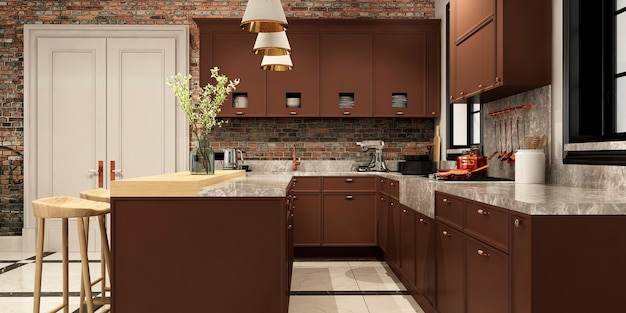 Intérieur moderne de cuisine avec salon