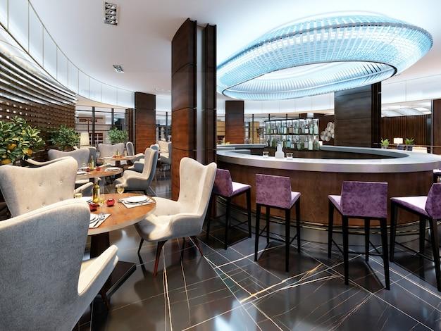 Intérieur moderne du bar-restaurant confortable. design contemporain dans un style branché, salle à manger et comptoir de bar modernes. rendu 3d