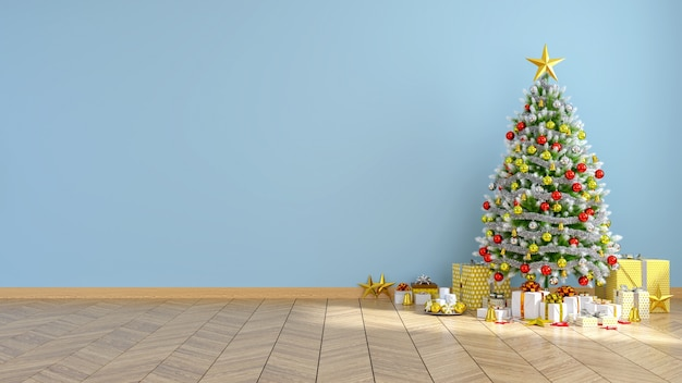 Intérieur moderne du salon, arbre de noël sur un mur bleu et plancher de bois
