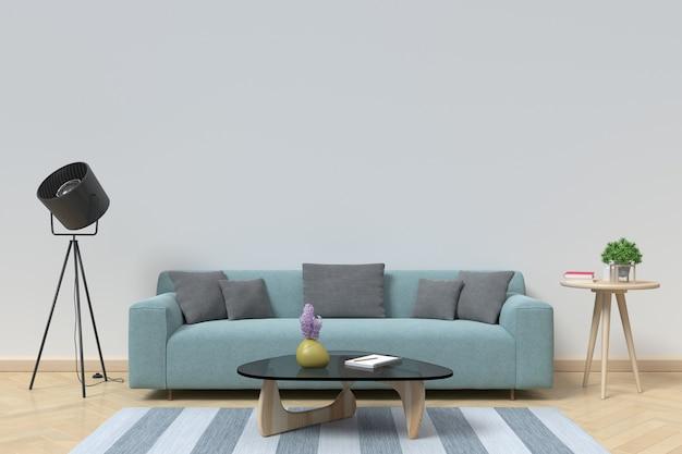 Intérieur moderne du salon avec canapé sur plancher en bois et mur blanc