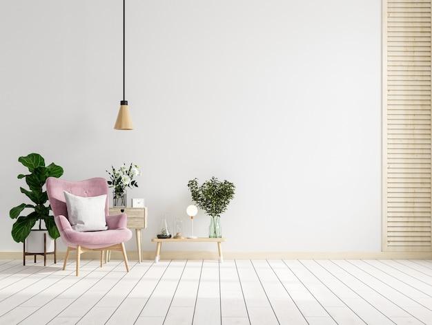 L'intérieur moderne du salon a un fauteuil rose avec une table sur un mur blanc et un sol en bois. rendu 3d