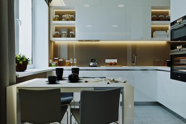 Intérieur moderne et élégant de l'appartement avec une belle vue