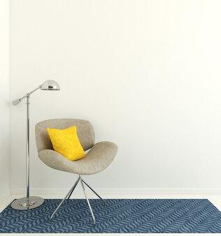 Intérieur moderne avec fauteuil gris près du mur blanc vide. rendu 3d.
