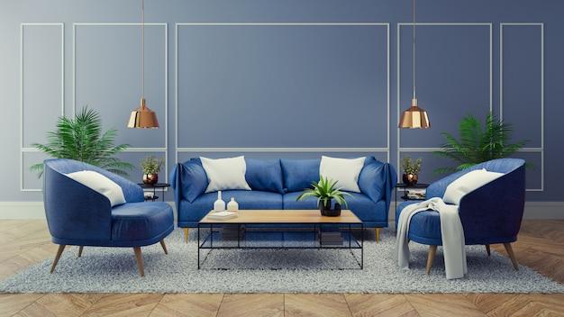 Intérieur moderne de luxe du salon, concept de décor de chambre bleue