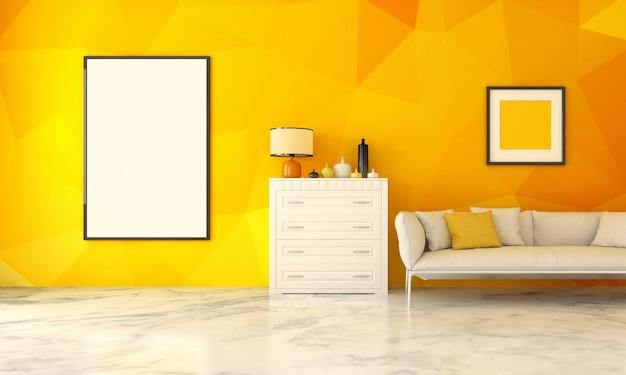 Intérieur moderne réaliste avec mur et cadre jaune