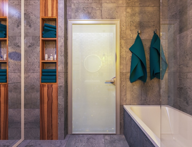 Intérieur moderne d'une salle de bain en loft