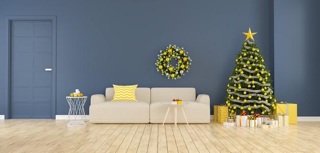Intérieur moderne de la salle de séjour, arbre de noël avec des coffrets cadeaux décorer