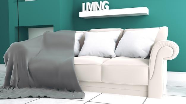 Intérieur moderne - salon et sofa doux sur le mur foncé