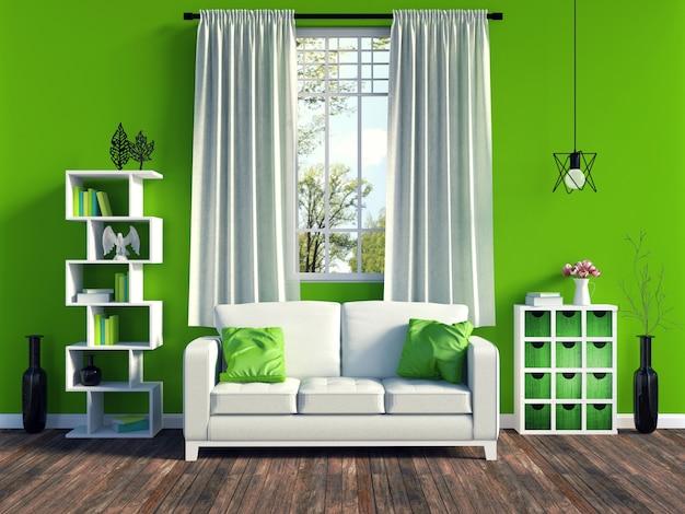 Intérieur moderne salon vert avec canapé blanc et mobilier et parquet ancien