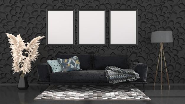 Intérieur noir avec canapé noir et cadres pour maquette, illustration 3d